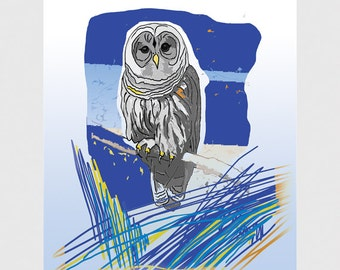 Blue Night Owl Print, Owl Art, Illustration, Owl Bird Print, Home Wall Decor, Owl Illustration / 8x10in