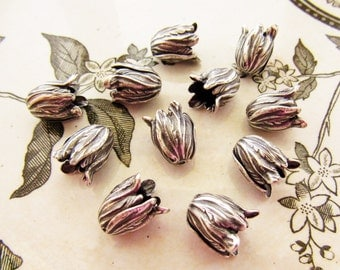 Antiqued Silver Ox Leaf or Tulip Flower Petal Bead Caps Cone Tassel End 11mm Long - 4