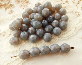 Czech Glass Faceted Gray Opal 8mm Round Beads Fire Polished  - 20
