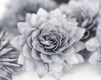 "10 4"" Grey Wood Flowers, Bouquet Flowers, Wedding Flowers, Flower Napkin RIngs"