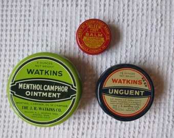 Set of Three Vintage Colorful Ointment Tins
