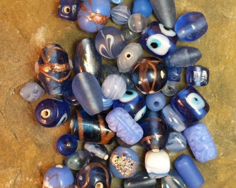 Lampwork Beads Vintage Lot of Mixed Blues Venetian Wedding Cake Style 58 Pieces