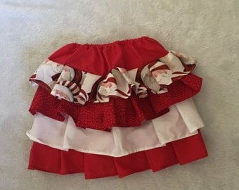 Santa, Christmas, Boutique Style Ruffle  Skirt  Size NB, 3 6 12 24 months, sizes 2, 3,4,5, 6