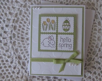 Handmade Greeting Card: Hello Spring/Easter (Green  Version)