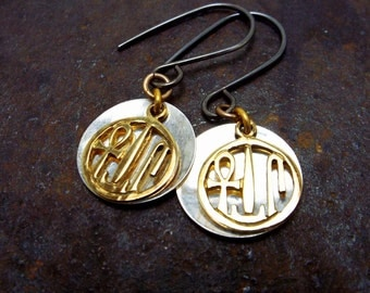 Egyptian Life Health Power Symbol Sterling Silver Vermeil Earrings