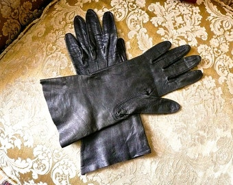 Vintage Gloves - Woman's Driving Gloves -Dark Brown Kid Leather -Evening Leather Gloves -Shooting Gloves - German Made - Shammy Fine Leather