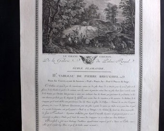 Racine after Pieter Bruegel 1786 Antique Print. Le Grand Chemin