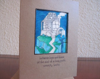 Between Here and There -- ORIGINAL hand-colored note card, haiku card (#NCC030)