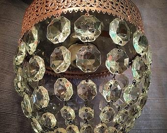 Rose Gold Hollywood Regency Ceiling Crystal Light Fixture