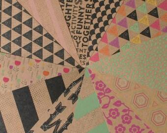 "6x6"" Scrapbook Paper | 12 Sheets | Craft Smith Typecraft | Patterened Kraft Paper | DESTASH | Scrapbook Paper | Mini Scrapbook | Cards"