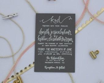 Calligraphy Wedding Invitation / Grey / White Ink