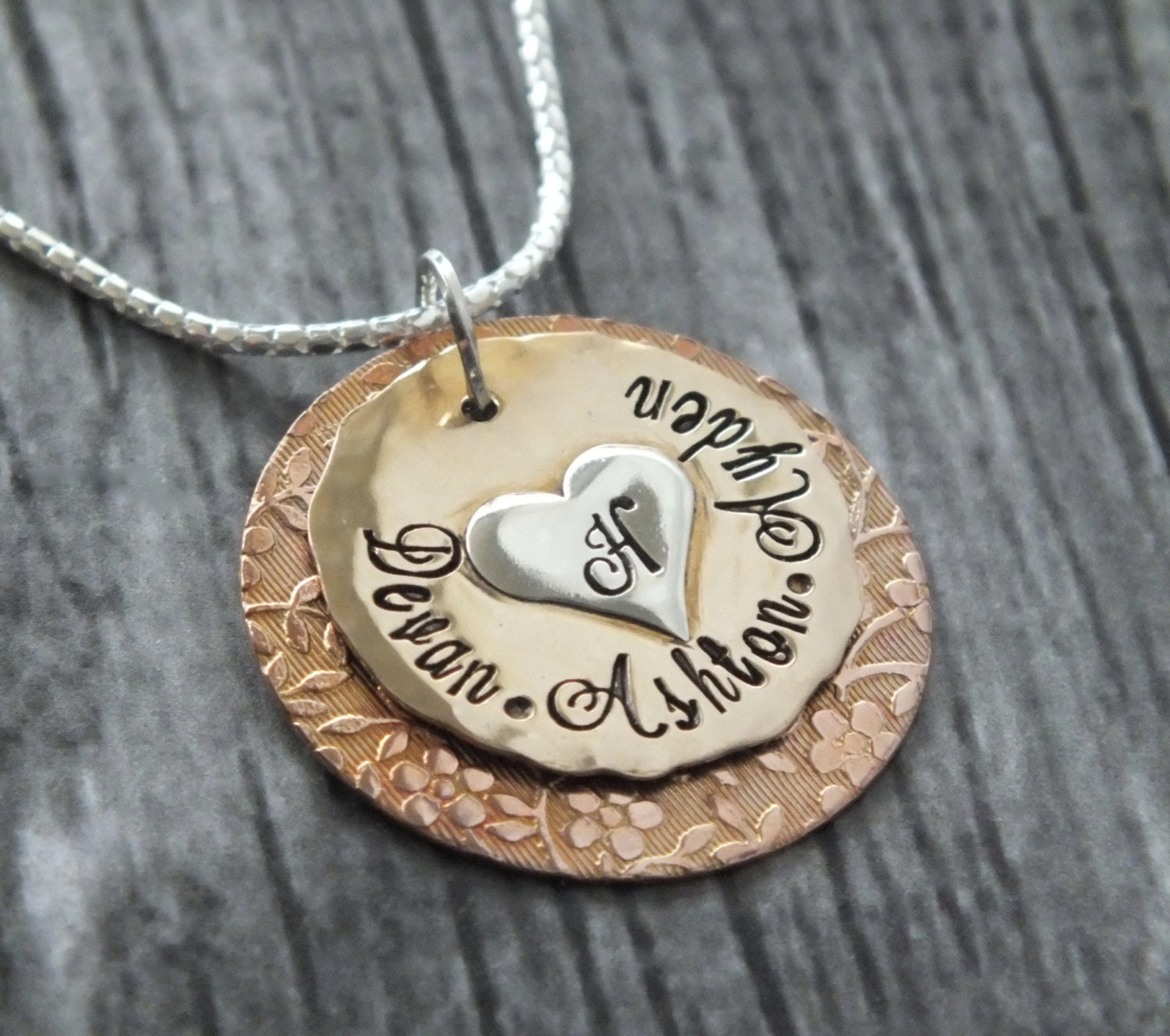 Mixed metal necklace hand stamped jewelry by thesilverwing for How to make hand stamped jewelry
