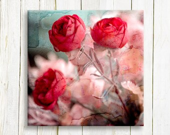 Red Floral art on canvas - Red flowers printed on canvas - Home decor