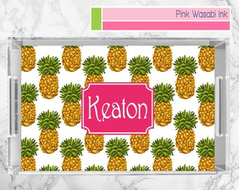 Pineapple Tray, Personalized Lucite Tray, Monogrammed Acrylic Tray, Tropical Serving Tray