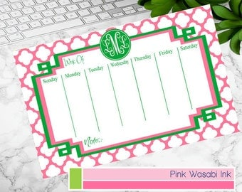 Desk Calendar Monogrammed Weekly Calendar Personalized Desk Calendar Quatrefoil Planner Preppy School Supplies Choose Colors