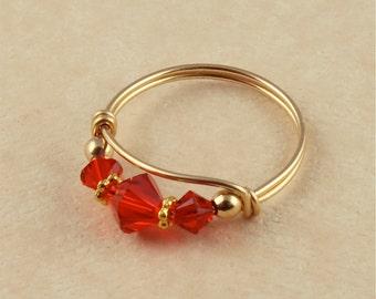 July Ruby Birthstone Ring, Ruby Swarovski Crystal Ring, July Birthstone Ring, Sterling Silver or 14KT Gold Filled Ring