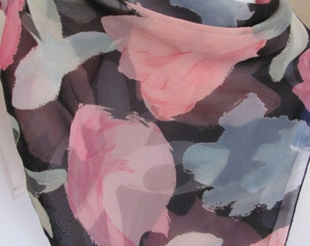 """Small Black Floral Sheer Poly Scarf 20"""" Square - Affordable Scarves!!!"""