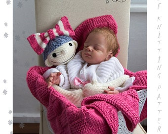 Baby Blanket with BowDoll - pdf knitting pattern