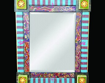 Hand Painted Decorative Mirror - Mirror of the Dragons