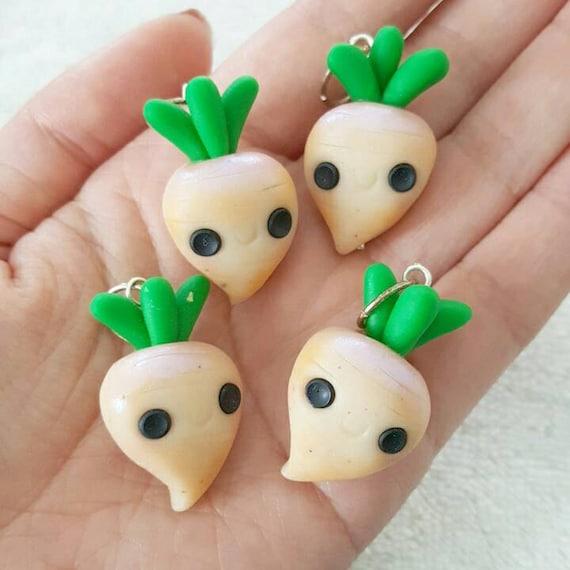 Turnips Charm, Turnip Polymer Clay Pendant, Food, Miniature Food Charm, DS Charm, polymer clay, clay pendant, Kawaii, Chibi, Clay Charm