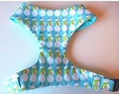 "Sale 50% Off Light Turquoise Blue and Snowmen Soft Comfort Dog Harness ""Snowmen"" - Soft on Your Dogs Skin"