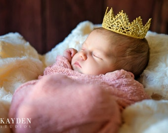 Baby Crown, Regal, Gold Lace Crown, Baby Photo Prop, Newborn Golden Crown Baby Girl or Boy Crown Gold Vintage Wedding Cake Topper