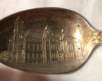 1905 Victorian Pennsylvania Sterling Souvenir Spoon Antique Silver High School Ridgeway PA Victorian Nouveau Dated Teaspoon