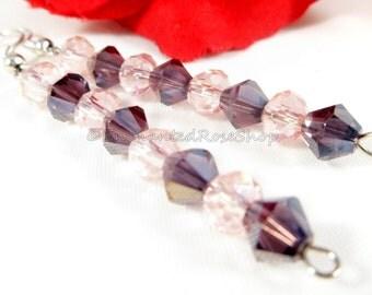 Swarovski Crystal Purple Amethyst Beaded Earrings ~ Swarovski Earrings ~ Bohemian Earrings ~ Elegant Earrings ~ Dangle Purple Earrings