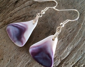 Natural Wampum Earrings, Native American Jewelry, purple wampum jewelry Genuine Handpicked Natural Wampum, handmade Wampum shell earrings