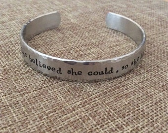 She believed she could, so she did - Graduation Bracelet - Inspiration Bracelet - Daughter Gift - Promotion Gift - Mantra Bracelet