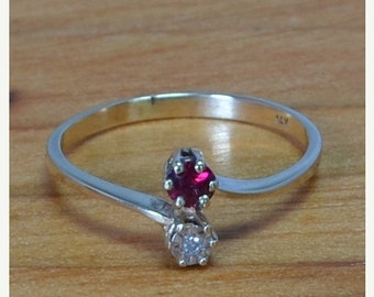 DEADsy LAST GASP SALE Antique English Bypass Ruby & Diamond Engagement Ring // Diamond and Ruby Engagement Ring in 14K Gold