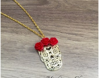 Dia de Los Muertos Day of the Dead Sugar Skull Pendant Necklace