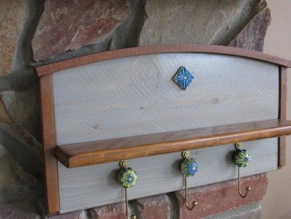 Handmade Key Holder Shelf Wall Hanging By Bluebirdshop1 On