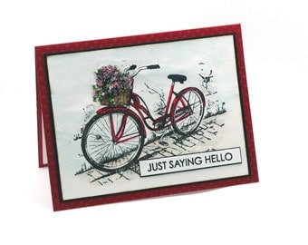 Flower basket hello note card, vintage bicycle greeting card, wildflowers, blank card, red bike, thinking of you