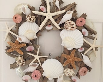 Beach Decor Pink and White Seashell and Starfish Driftwood Wreath - Shell Wreath - Coastal Home Decor -Nautical- Seashells -Christmas Wreath
