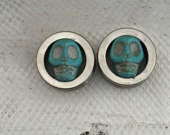 9/16 Skull inlay plugs