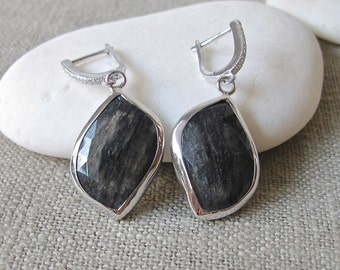 Statement Fancy Shape Earring- Black Rutile Silver Earring- Unique Gemstone Dangle Earring- Tourmalated Quartz Evening Earring-Black Earring