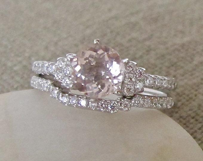 Morganite Bridal Set Ring- Morganite Ring Set- Morganite Engagement Wedding Ring- Round Morganite Promise Ring- Aniversary Ring Set
