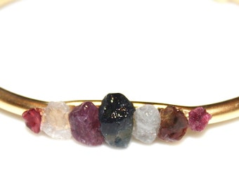 Raw Sapphire Cuff Raw Stone Cuff Sapphire Bracelet Raw Sapphire Bracelet Boho Bracelet Boho Cuff Stacking Bangle Modern Bracelet Multicolor