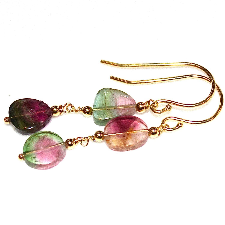 watermelon tourmaline slice earrings color block jewelry