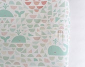 4 Whales and a Sunrise Diaper Changing Pad Cover