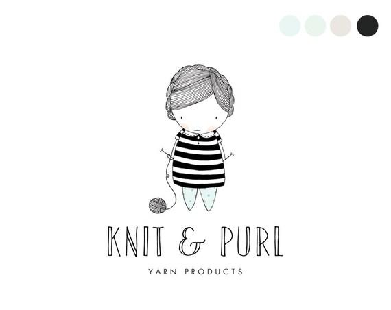 Knitting Logo Ideas : Knitting logo design hand drawn by