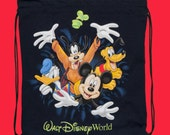 Upcycled Disney Mickey Mouse , Pluto , Donald Duck and Goofy drawstring backpack cinch bag