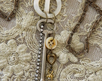 Assemblage Necklace MOP Buttons Key Rhinestones