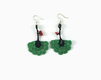 Green flower Dangle Earrings, Crochet flower  Earrings, Crochet Earrings, Crochet Jewelry, Fun Jewelry,  Boho Hippie Jewelry