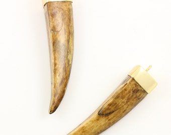 Large Dark Brown Tusk in Natural Wood , Tusk Connector ,Tusk Pendant with Gold plated bail, 3.5 inch long Approx, (HRN-4027)