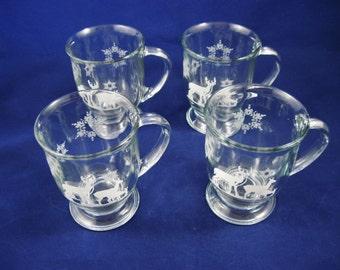 Christmas Beer Mugs, Anchor Hocking,  Woodland Deer with Snowflakes, Barware, Set of 4, 12 ounce Capacity. Vintage