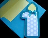 First Birthday Card Shaped like Birthday Candle , Number 1 Shaped Card , Baby First Birthday Card , First Birthday , 1st Birthday Card