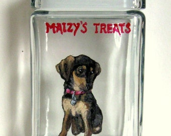 Dachshund, Custom Canister, Dog Treat Jar, Pet Painting, Biscuit Holder, Pet Supply, Painted Dog, Glass Art, Animal Art, Pet Lover, Storage