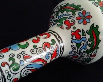 Hand made porcelain bottle, Greece, decanter or carafe, brandy, 40 years old, folk art red green blue medalion, S E A Metaxa, cork top, boho